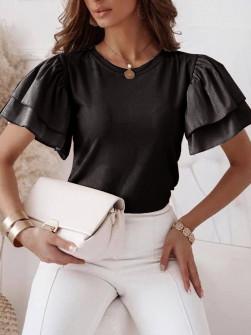 Γυναικεία μπλούζα με φουσκωτό μανίκι 77730 μαύρη