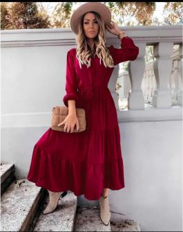 Γυναικείο μακρύ φόρεμα με κουμπιά 5337 μπορντό