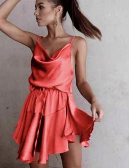 Γυναικείο φόρεμα σατέν 2455 κόκκινο