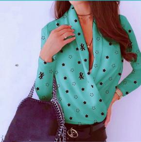 Γυναικεία μπλούζα κρουαζέ 502007 τυρκουάζ