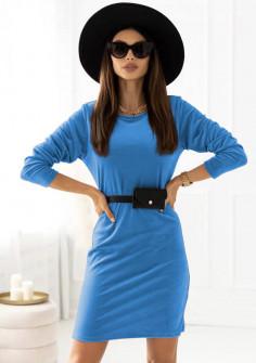Γυναικείο εντυπωσιακό φόρεμα με ζώνη τύπου τσάντα 21408  γαλάζιο