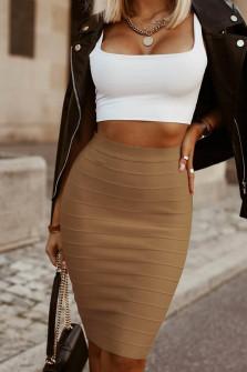 Γυναικεία ψηλόμεση φούστα 2399 καμηλό