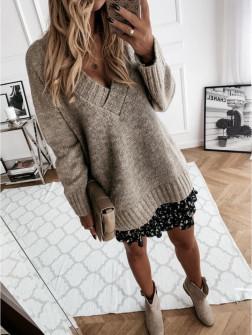 Γυναικείο χαλαρό πουλόβερ 8056 καφέ