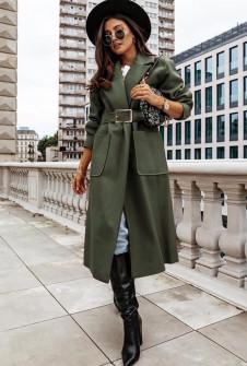 Γυναικείο μακρύ παλτό με ζώνη 8650 σκούρο πράσινο