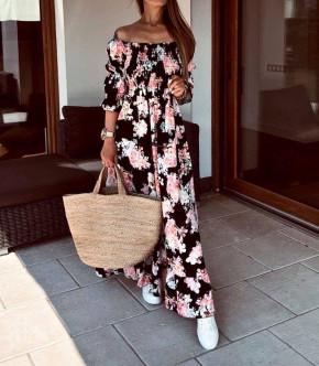 Γυναικείο μακρύ φόρεμα 21613 μαύρο