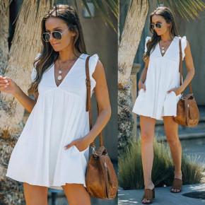 Γυναικείο φόρεμα με βαθύ ντεκολτέ 8118 άσπρο