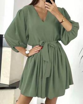 Γυναικείο χαλαρό φόρεμα με ζώνη 3456 σκούρο πράσινο