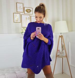 Γυναικείο πλεκτό μπλουζοφόρεμα 7115 μπλε