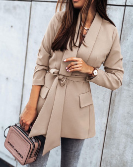 Γυναικείο σακάκι με φόδρα και ζώνη 5339 μπεζ