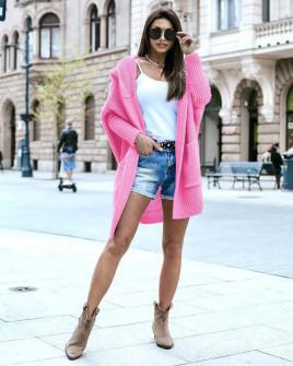 Γυναικεία ζακέτα με κουκούλα 00667 ροζ