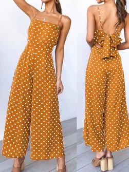 Γυναικεία ολόσωμη φόρμα πουά 5008 μουσταρδί