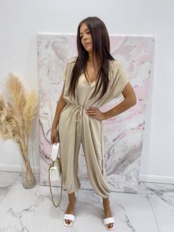 Γυναικεία χαλαρή ολόσωμη φόρμα 3702 μπεζ
