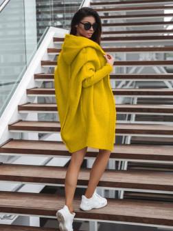 Γυναικεία ζακέτα με ραφή στην πλάτη 2267 κίτρινη
