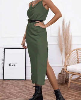 Γυναικείο φόρεμα σατέν 21070 σκούρο πράσινο