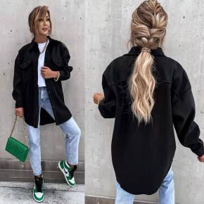 Γυναικείο χοντρό πουκάμισο 55827  μαύρο