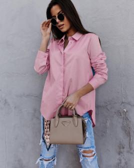 Γυναικείο βαμβακερό πουκάμισο 5551 ροζ