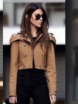 Γυναικείο κοντό παλτό 21633 καμηλό