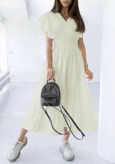 Γυναικείο μακρύ φόρεμα 21815 μπεζ