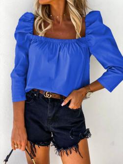 Γυναικεία μπλούζα με φουσκωτό μανίκι 8568 μπλε