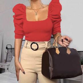 Γυναικεία μπλούζα με φουσκωτό μανίκι 2405 κόκκινη