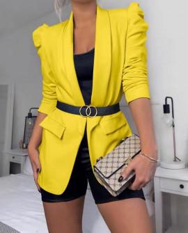Γυναικείο κομψό σακάκι 3969 κίτρινο