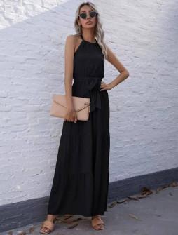 Γυναικείο μακρύ φόρεμα με ζώνη 5814 μαύρο