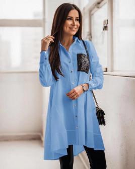 Γυναικείο πουκάμισο με τσέπη από παγιέτες 5489 γαλάζιο