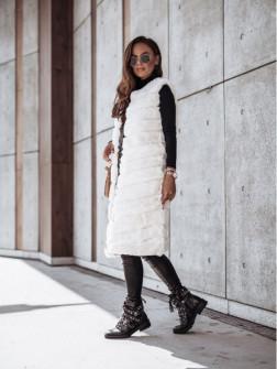 Γυναικείο μακρύ αμάνικο γουνάκι 2553 άσπρο
