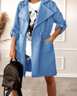 Γυναικεία βελούδινη καπαρντίνα 5991  γαλάζιο