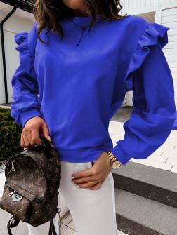 Дамска блуза с обемни ръкави 24155 синя