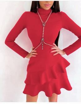 Γυναικείο κομψό φόρεμα 21655 κόκκινο