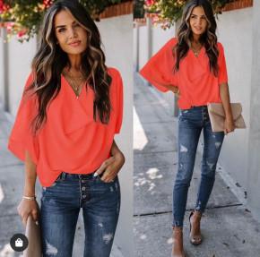 Γυναικεία μπλούζα με χαλαρό ντεκολτέ 50811 κοραλί