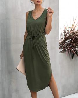 Γυναικείο μίντι φόρεμα 2386 σκούρο πράσινο