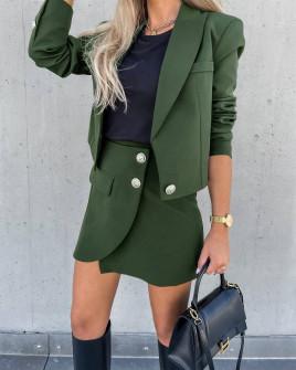 Γυναικείο σετ σακάκι-φούστα 6071 σκούρο πράσινο