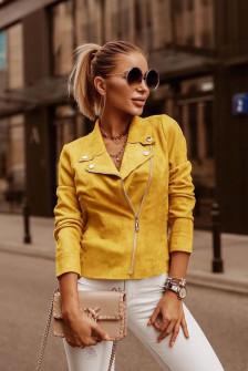 Γυναικείο μπουφάν βελουτέ 1926 κίτρινο