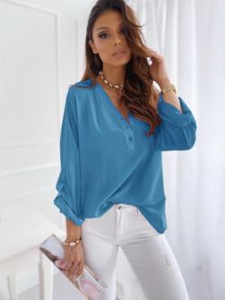 Γυναικείο χαλαρό πουκάμισο 5019 τυρκουάζ