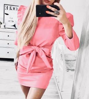 Γυναικείο φόρεμα με ζώνη 2016 ροζ