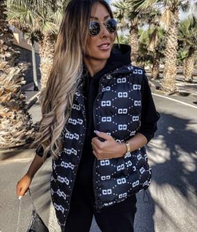 Γυναικείο αμάνικο μπουφάν με print 82058 σκούρο μπλε