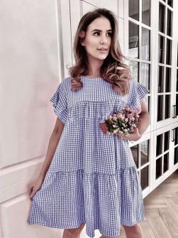 Γυναικείο φόρεμα πτι καρό 21077 σκούρο μπλε