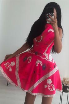 Γυναικείο φόρεμα με print 9117 φούξια
