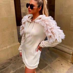 Γυναικείο φόρεμα με εντυπωσιακά μανίκια 3489 μπεζ