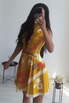 Γυναικείο φόρεμα με print 9117 κίτρινο
