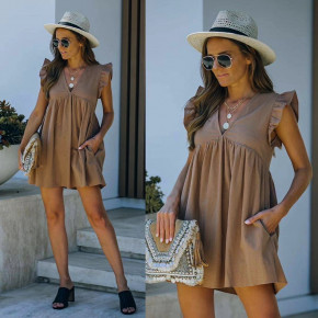 Γυναικείο φόρεμα με βαθύ ντεκολτέ 8118 καπουτσίνο