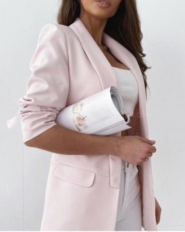 Γυναικείο κομψό σακάκι με φόδρα 3229 ροζ ανοιχτό