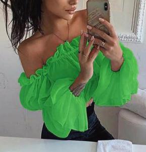 Γυναικεία κοντή μπλούζα 9173 πράσινο
