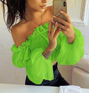 Γυναικεία κοντή μπλούζα 9173 πράσινο νεον