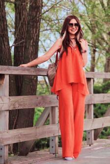 Γυναικείο χαλαρό σετ τοπάκι και παντελόνι 5154 πορτοκαλί