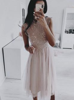 Γυναικείο φόρεμα με δαντέλα και τούλι 5227 εκρού