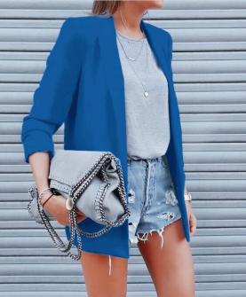 Γυναικείο κομψό σακάκι με φόδρα 3229 μπλε