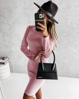 Γυναικείο βελούδινο φόρεμα 5978 ροζ